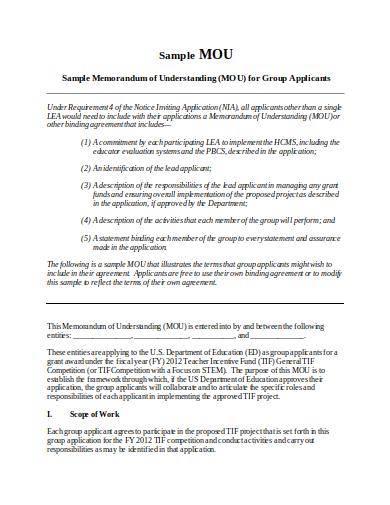 sample memorandum of understanding for group applicants