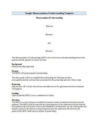sample memorandum of understanding template