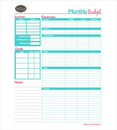 sample monthly budget template