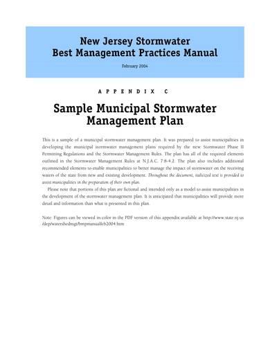 sample municipal stormwater management plan