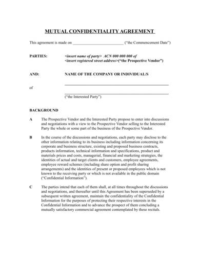 sample mutual confidentiality agreement 1