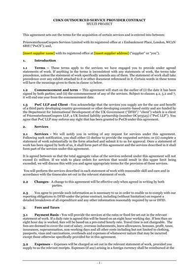 sample outsourced service provider agreement template