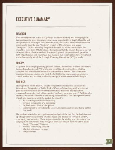 sample presbyterian church strategic plan