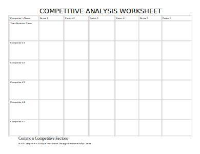 sample product competitive analysis worksheet