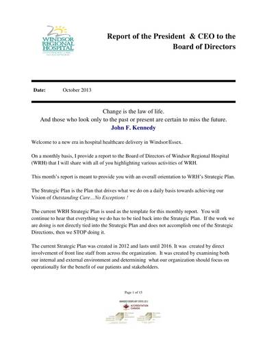 sample report to board of directors
