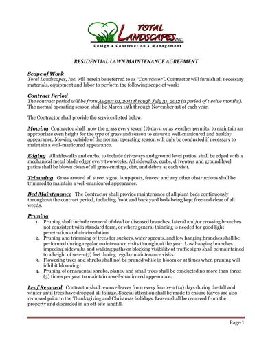 sample residential lawn maintenance contract 1
