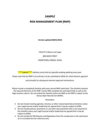 sample risk management plan