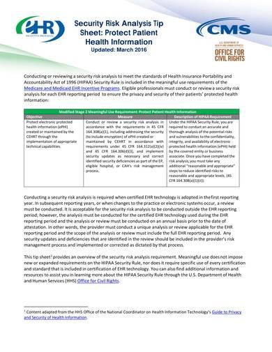 sample security risk analysis tip sheet 1