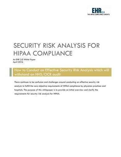 sample security risk analysis for hipaa compliance