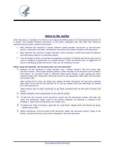 sample service level agreement memorandum of understanding