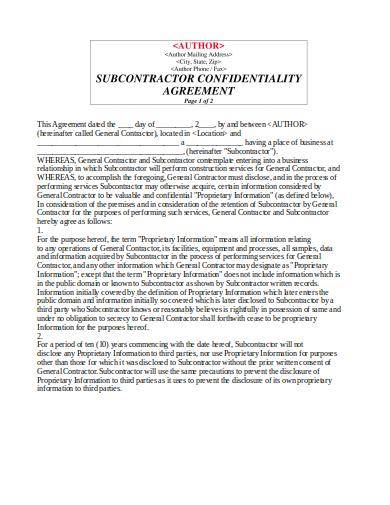 sample subcontractor confidentiality agreement