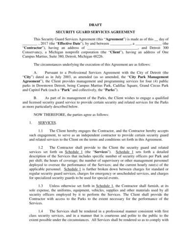 security guard contract draft sample