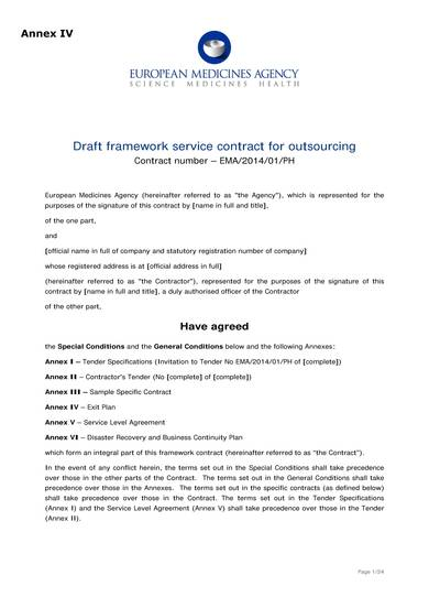 service agreement for outsourcing draft sample