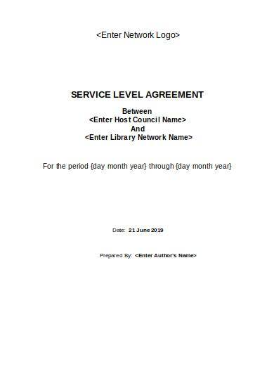service level agreement template for library