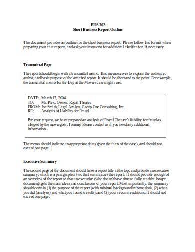 short business report outline