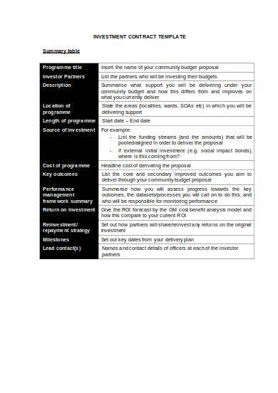 short term investment contract sample template