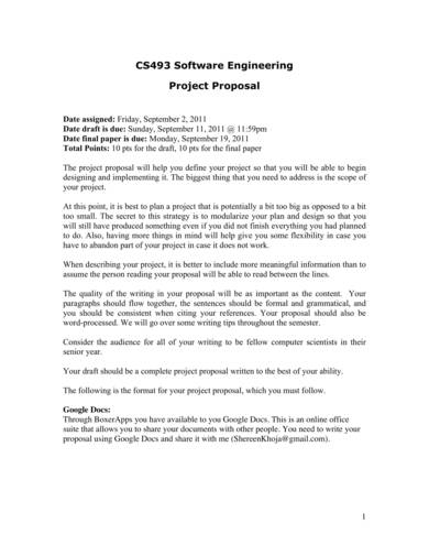 software engineering project proposal sample 1