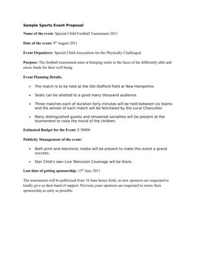 sports event planning proposal sample 1