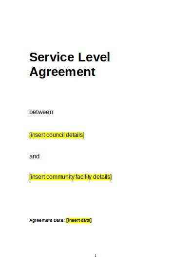 standard service level agreement sample