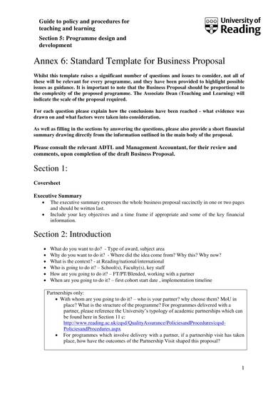 standard template for business proposal 01