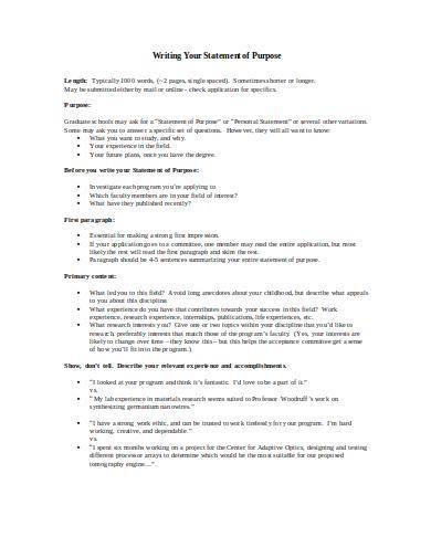 statement of purpose outline sample