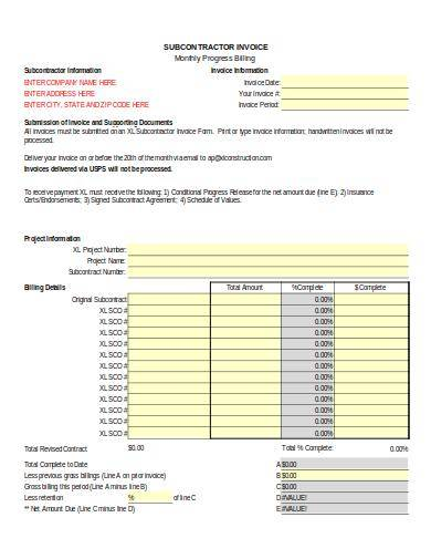 subcontractor invoice sample form