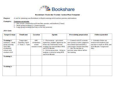 train the trainer action plan template