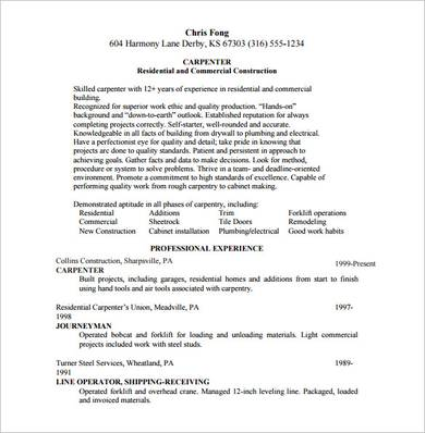 Free 9 Carpenter Resume Samples In Pdf Word