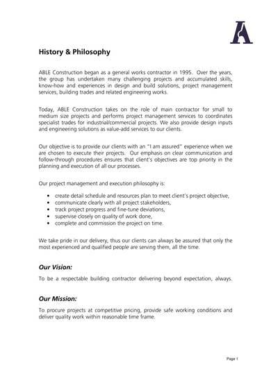 able construction company profile sample