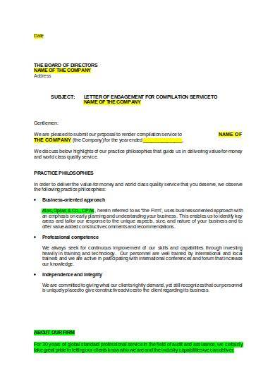 accounting compilation engagement proposal template