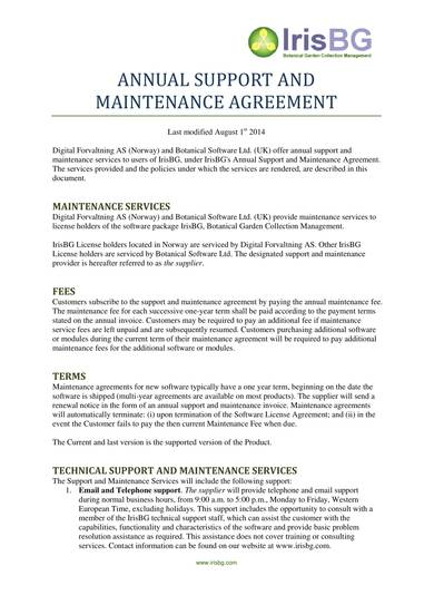 annual support and maintenance agreement contract