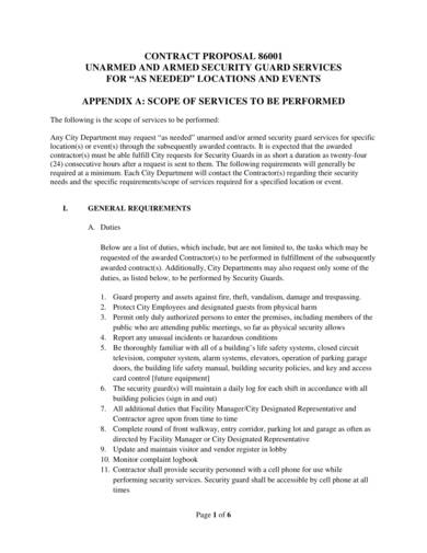 armed and unarmed security guard services proposal sample 1
