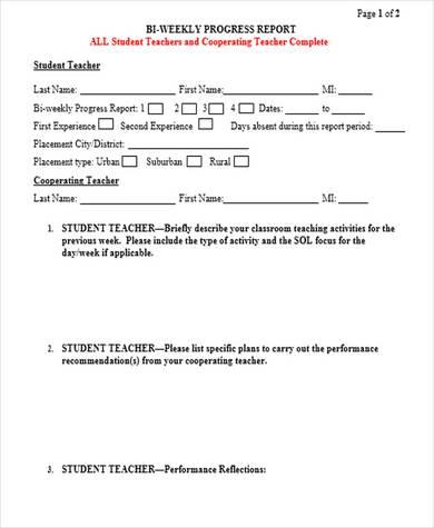 bi weekly progress report template 1