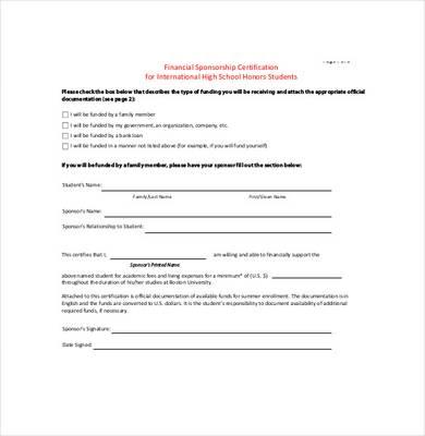 bin sponsorship agreement template