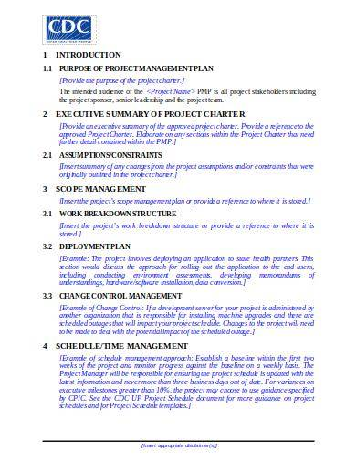 blank project management plan template