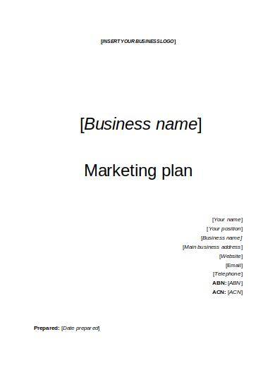 blank small business marketing plan template