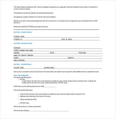blank sponsorship agreement form template