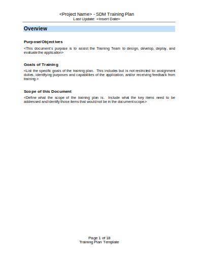 blank training plan sample template