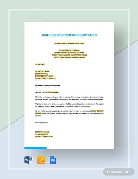 building construction quotation template