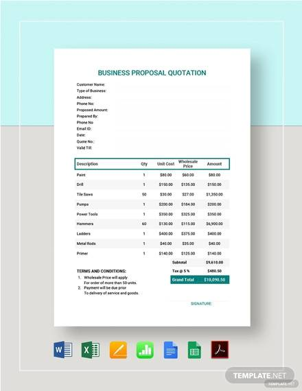 business proposal quotation template