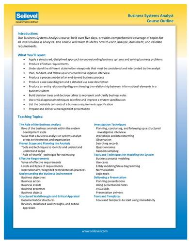 business systems analysis course outline