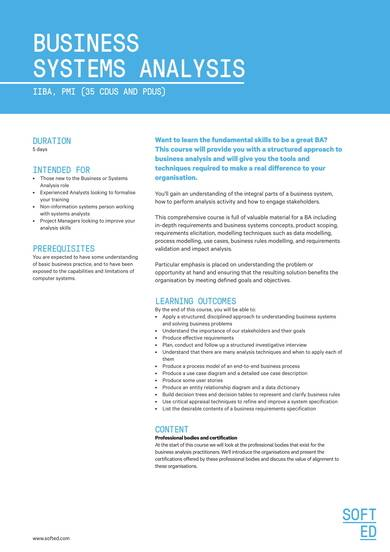 business systems analysis sample training course