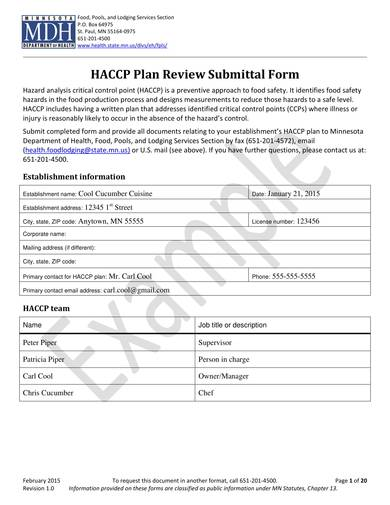 canning sample haccp plan form 01