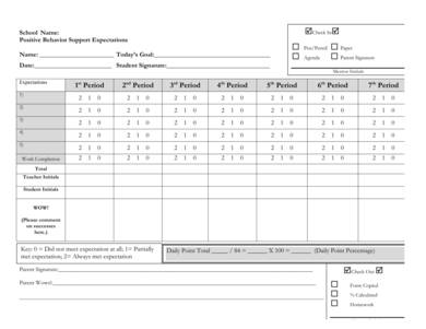 check in check out daily progress report sample