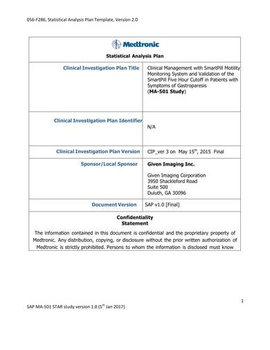 clinical investogation statistical analysis plan sample