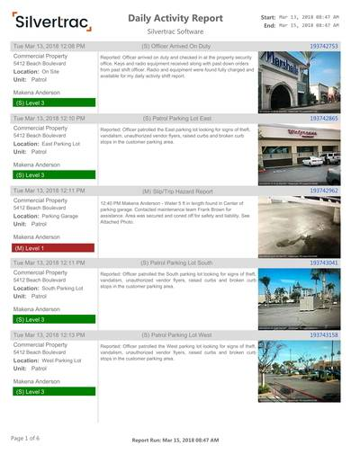 commercial propoerty daily activity report sample