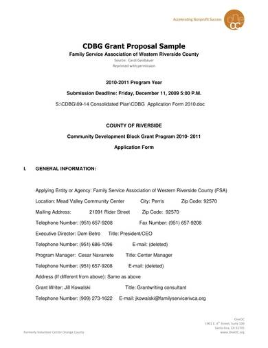 community development grant proposal sample