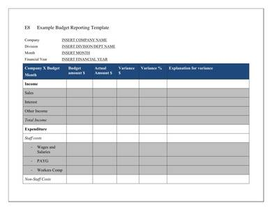 company budget report template