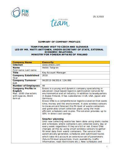 company profile sample template