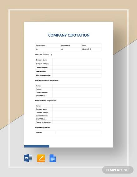 company quotation template